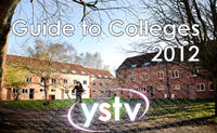 Poster image created for the Guide to Colleges, showing one of St Lawrence Court's quads in Halifax with a superimposed YSTV logo.